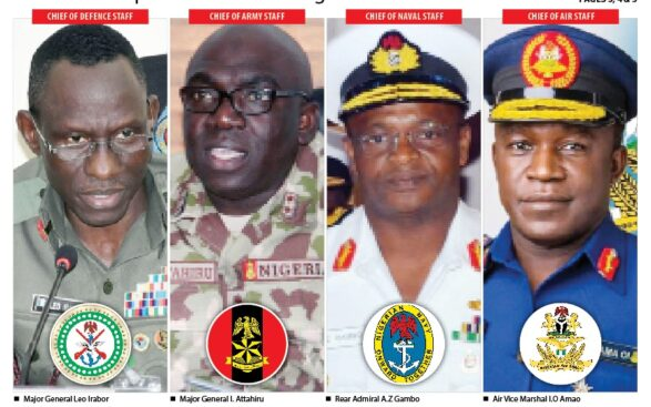 Major-General Leo Irabor, Chief of Defence Staff; Major-General I. Attahiru, Chief of Army Staff; Rear Admiral A.Z Gambo, Chief of Naval Staff; and Air-Vice Marshal I.O Amao, Chief of Air Staff;