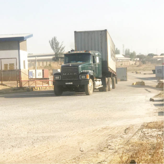 Containers leaving the Kaduna Inland Dry Port