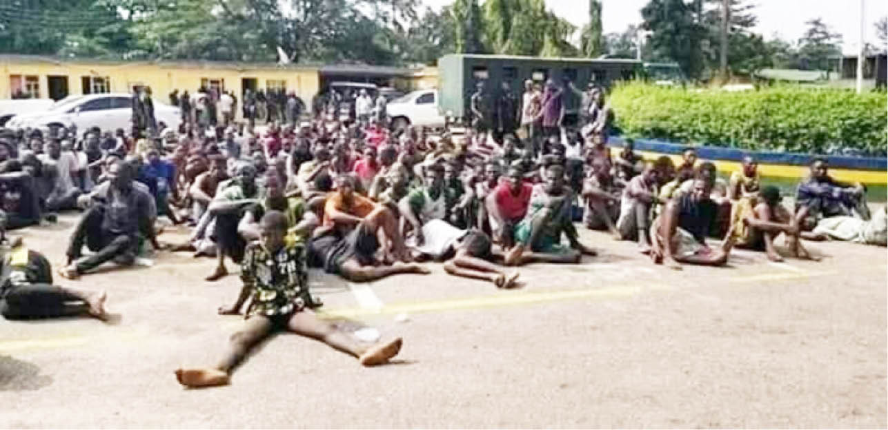 Some of the suspects paraded in Lagos but misleadingly shared as Oyigbo crisis victims
