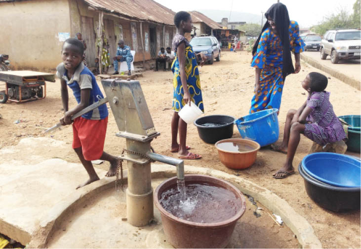Residents fetching water in Ejigbo, Osun State