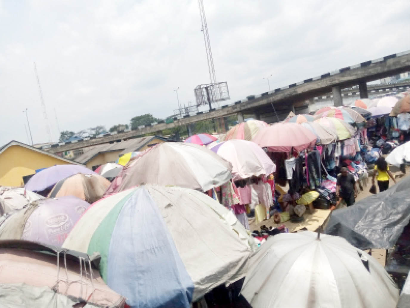 Another site with parasols used by traders at Port Harcourt