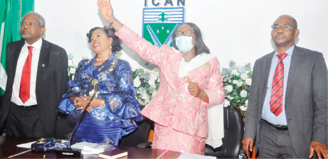 From left: Vice President, Institute of Chartered Accountants of Nigeria (ICAN), Alhaji Tijjani Isa; new president of the institute, Mrs Comfort Eyitayo; immediate past president, Dame Onome Joy Adewuyi; and the First Deputy Vice President of the institute, Dr. Innocent Okwuosa; during the investiture ceremony in Lagos yesterday