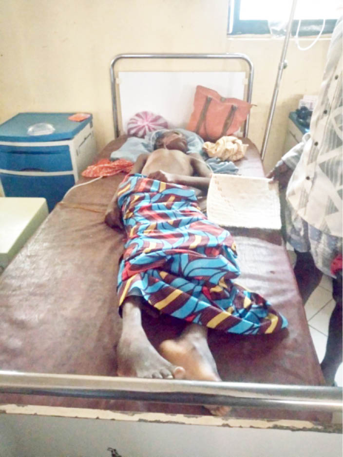 A victim of food poisoning shortly before he died at Yariman Bakura Specialist Hospital, Gusau