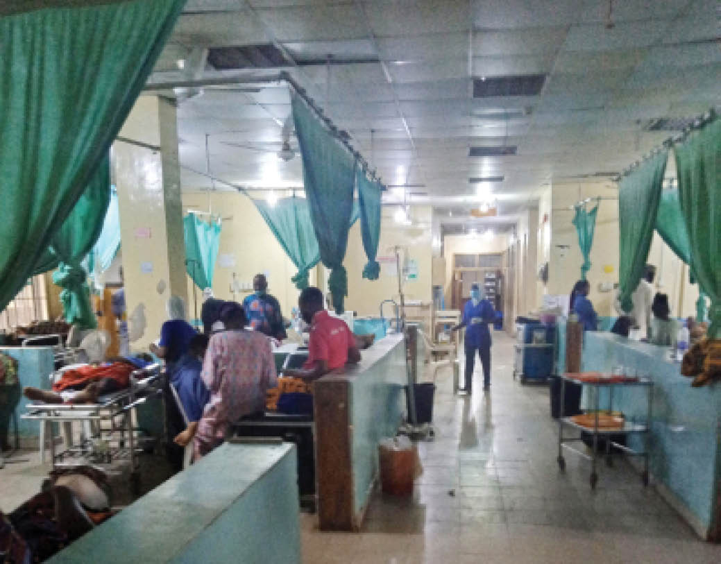 Patients being attended to by nurses inside the emergency ward of the University of Ilorin Teaching Hospital yesterday