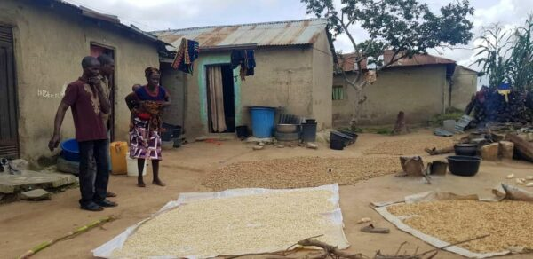 Isaac has to watch over her harvest drying in the sun in front of her home
